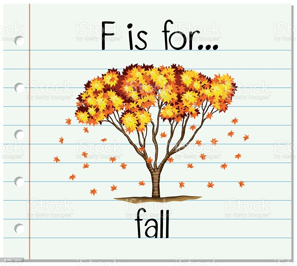 flashcard letter f is for fall アルファベットのベクターアート素材