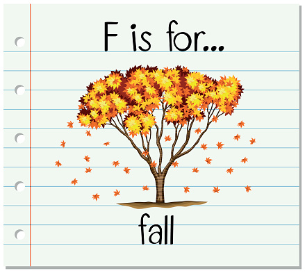 Flashcard letter F is for fall