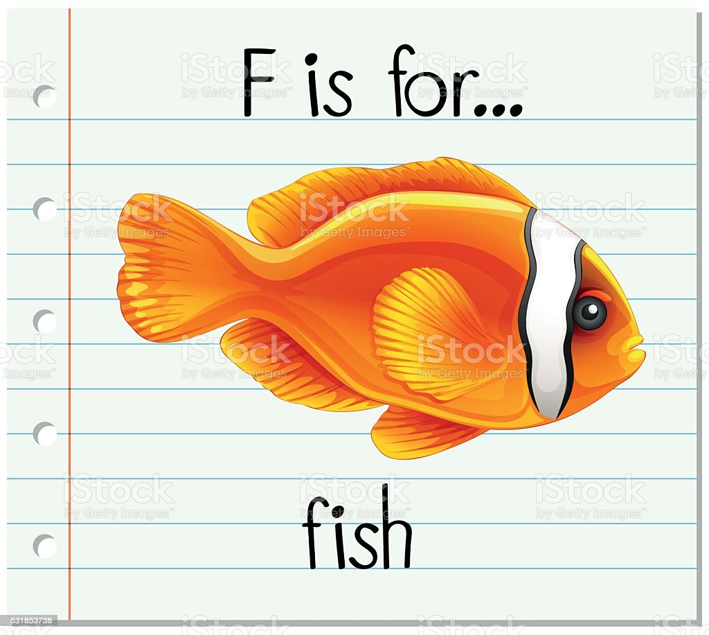 flashcard letter f is for fish stock vector art 531853738 istock