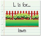 Flashcard letter L is for lawn