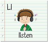 Flashcard letter L is for listen