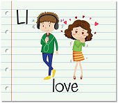 Flashcard letter L is for love