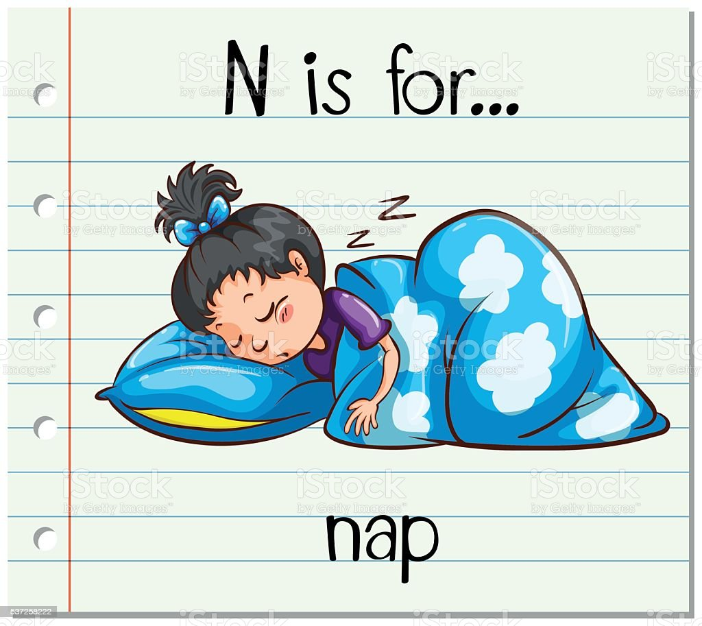 Flashcard letter N is for nap vector art illustration