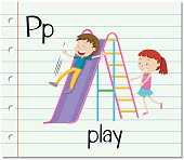 Flashcard letter P is for play
