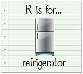 Flashcard letter R is for refrigerator