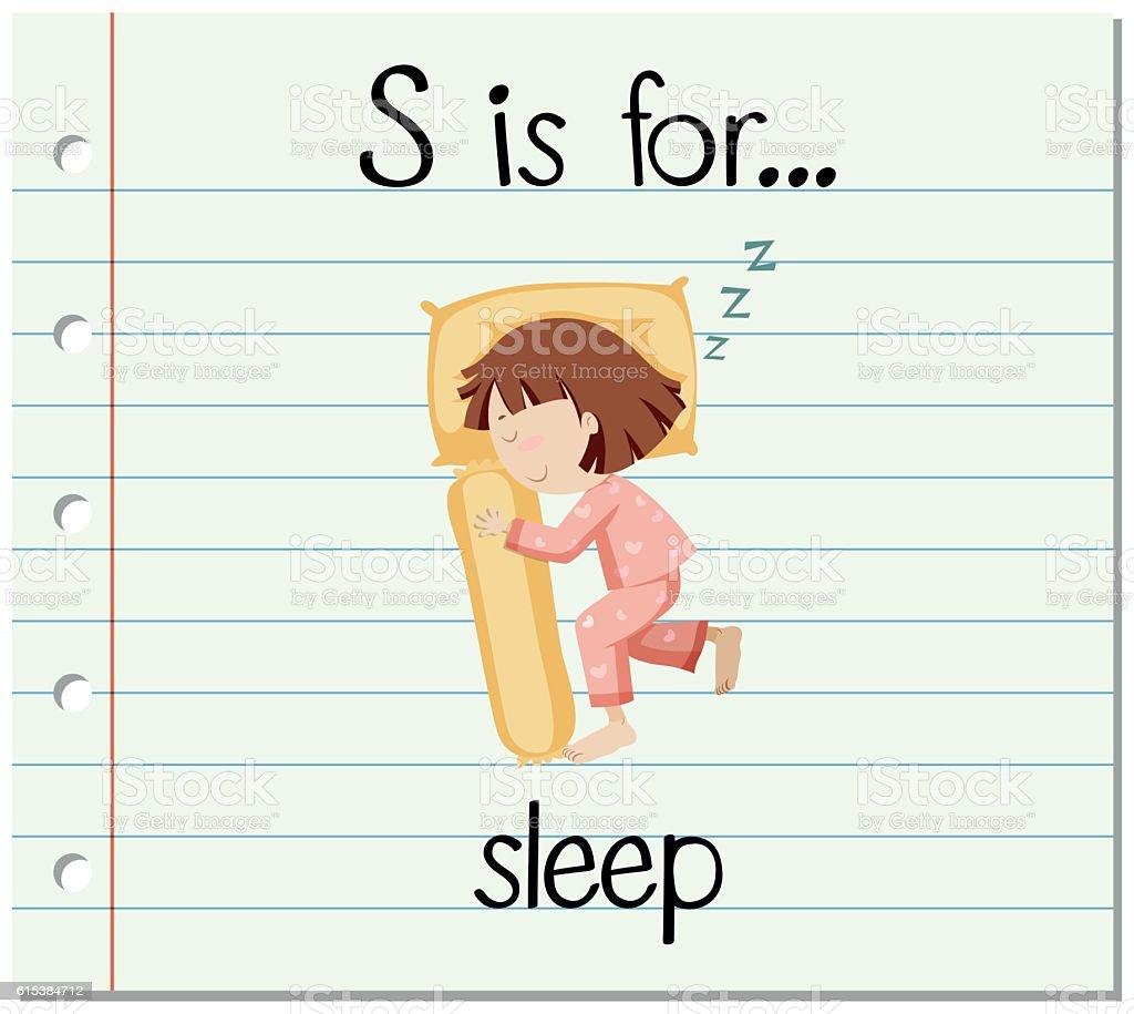 Flashcard letter S is for sleep vector art illustration