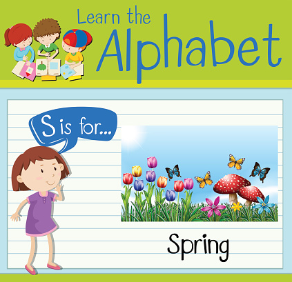 Flashcard letter S is for Spring