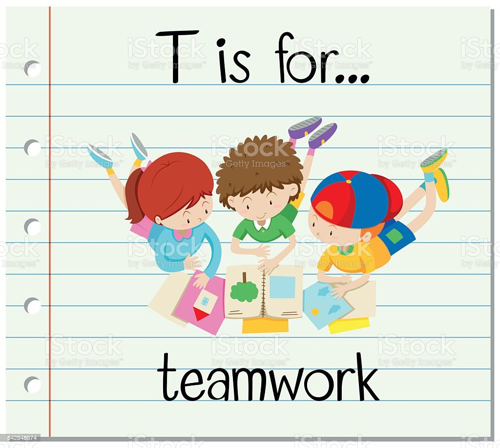 Flashcard letter T is for teamwork vector art illustration