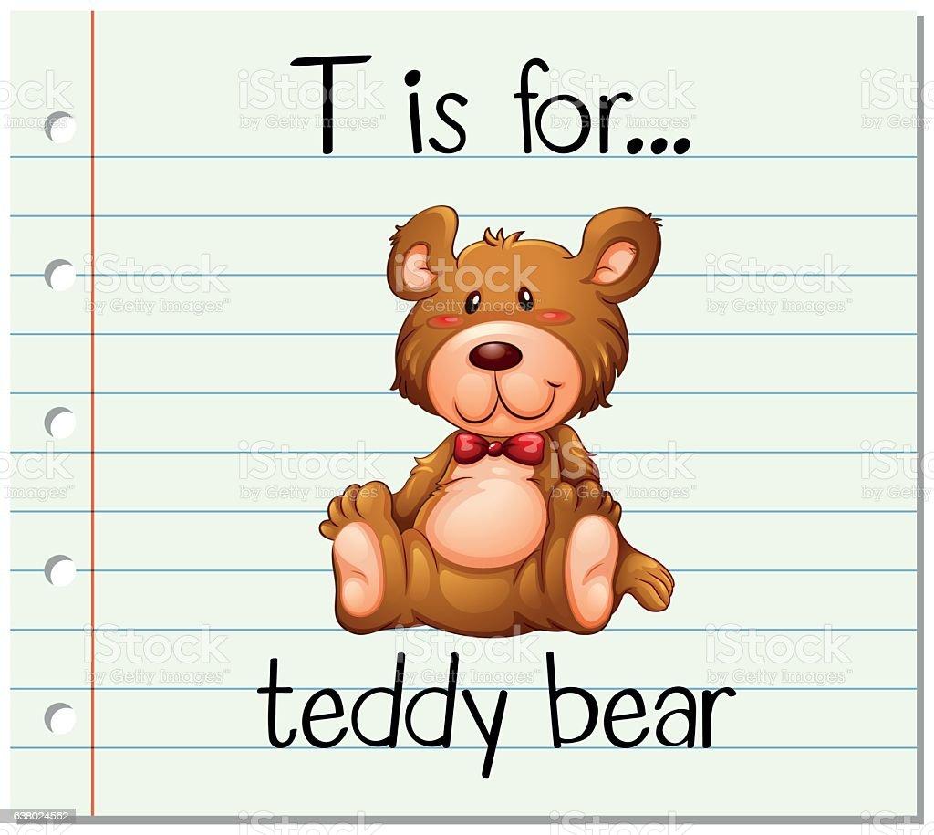 Flashcard letter T is for teddy bear - ilustração de arte em vetor