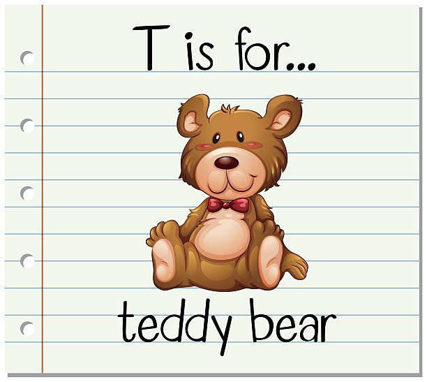 flashcard letter t is for teddy bear - puppenkurse stock-grafiken, -clipart, -cartoons und -symbole