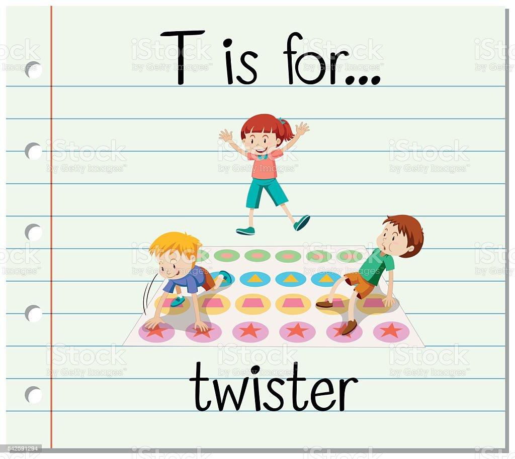 フラッシュカードの文字 t は twister イラストレーションのベクター