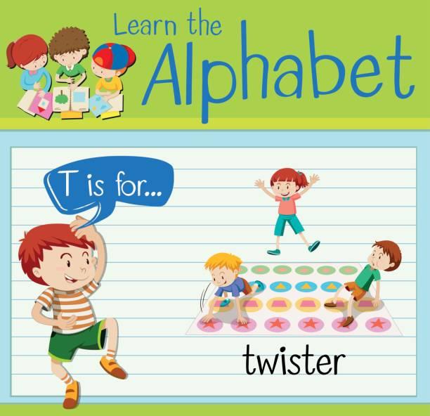 Flashcard Letter T Is For Twister Vector Art Illustration