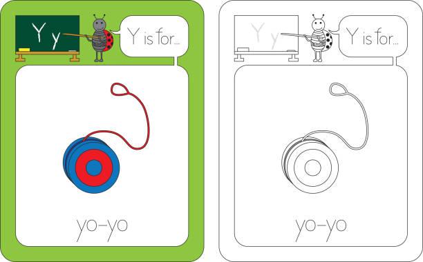 Carta de flashcard Y - ilustração de arte em vetor