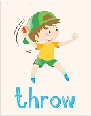 Flashcard with boy throwing ball