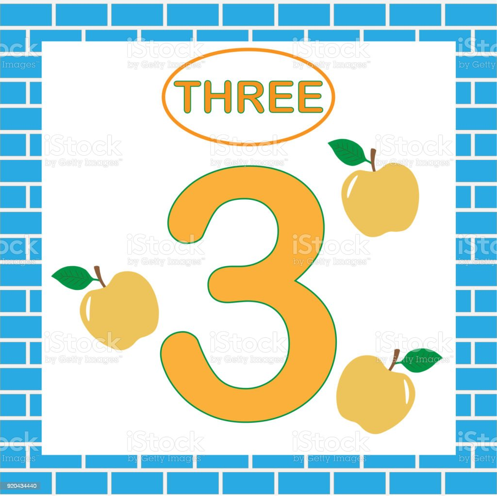 Flashcard With Number 3 Learning Numbers Mathematics Education For ...