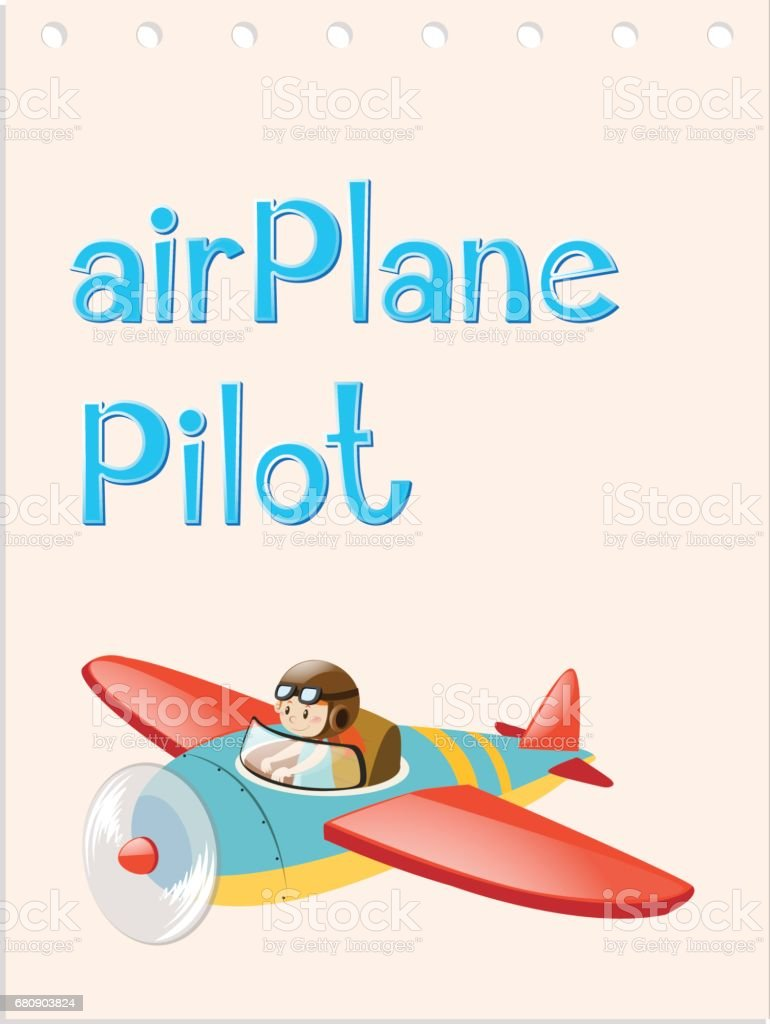 Flashcard with pilot and airplane royalty-free flashcard with pilot and airplane stock vector art & more images of airplane
