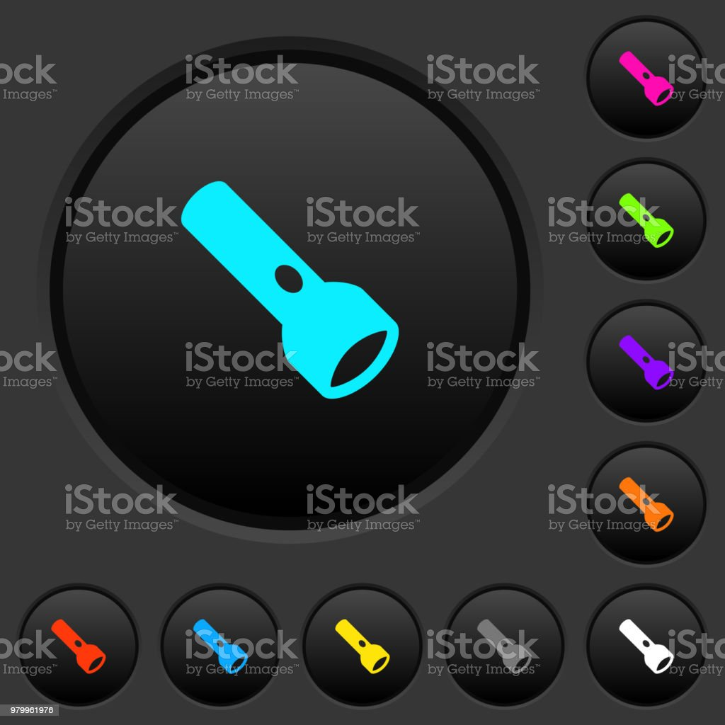 Flashlight Dark Push Buttons With Color Icons Stock Vector Art ...