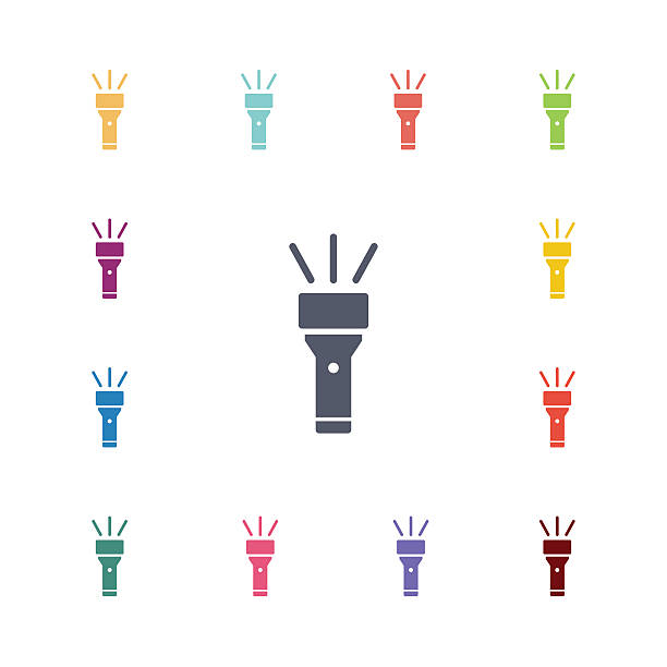 flashlight flat icons set flashlight flat icons set. Open colorful buttons flashlight stock illustrations