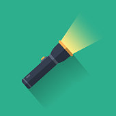istock Flashlight Icon Flat Design. 1318100641