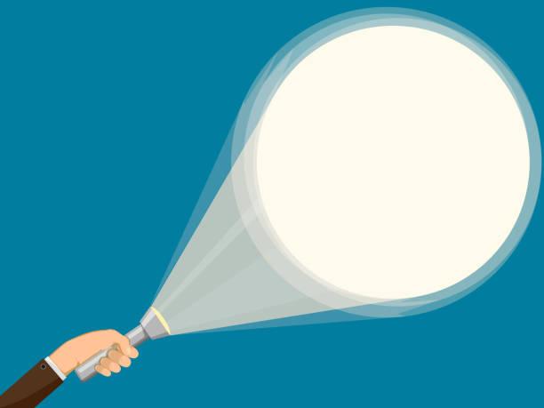 Flashlight in hand of man. Background illuminated by a spotlight. Flashlight in hand of man. Background illuminated by a spotlight. Vector illustration. flashlight stock illustrations