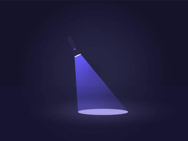 Flashlight Light in the Dark Flashlight Light in the Dark. Vector flat illustration. flashlight stock illustrations