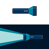 Flashlight. On and off position. Flat vector illustration