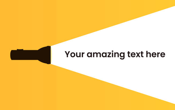 Flashlight silhouette with ray on the yellow background. Flashlight silhouette on the yellow background. Find or search design concept. Applicable as banner, announcement, message design. Flat vector illustration. flashlight stock illustrations