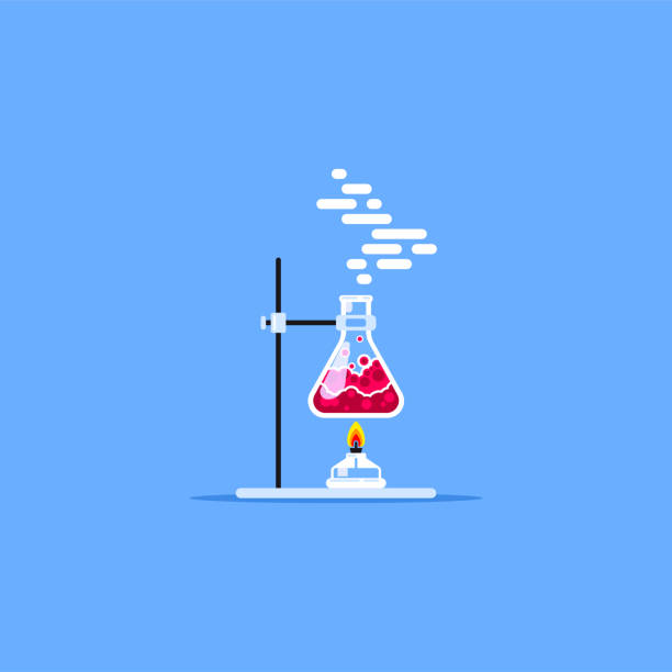 Flask and burner Laboratory equipment. Burner heating flask with red liquid. Flat style illustration. Scientific research concept. chemical reaction stock illustrations