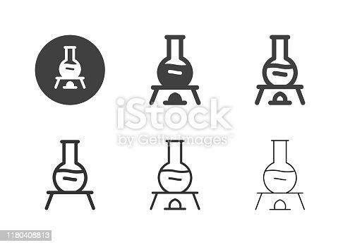 Flask Lab Burner Icons Multi Series Vector EPS File.