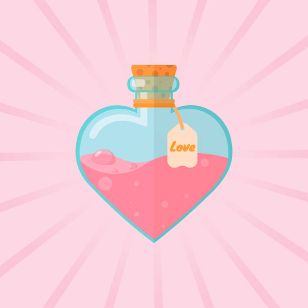 flask, potion, love, vector graph Vector illustration of love potion. Can be used for posters, postcards, business cards, web banners. Illustration of EPS 10. Happy Valentine's Day! love potion stock illustrations