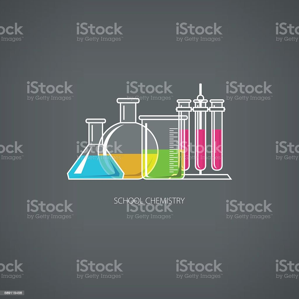 Flasks and Beakers vector art illustration