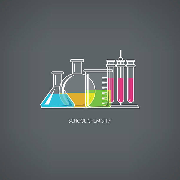 Flasks and Beakers Flasks Beakers and Test-tubes, Chemical Laboratory Equipment on Gray Background, School Chemistry, Vector Illustration laboratory flask stock illustrations