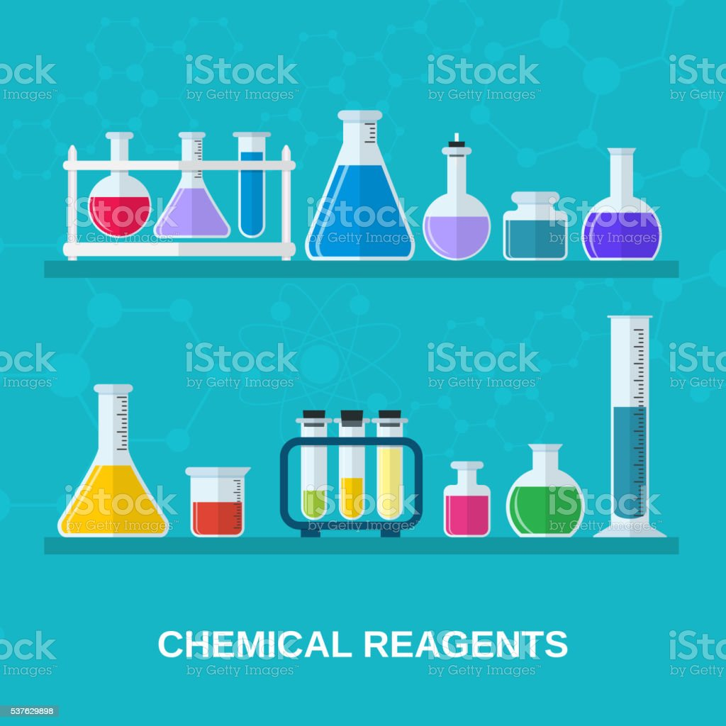 flasks with colored liquids. vector art illustration