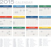 Detailed flat 2015 calendar with United States holidays. Labeled and grouped for easy editing (see screenshot).