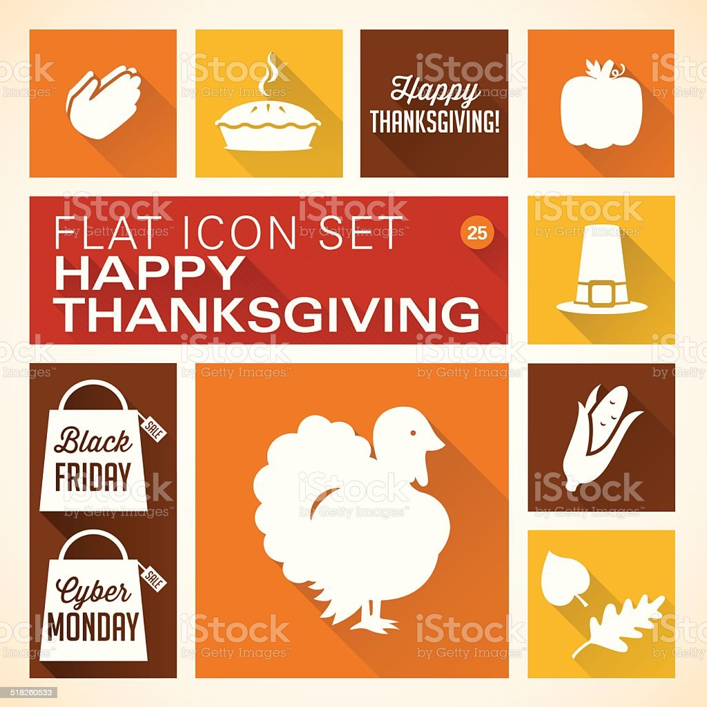 Flat 25 - Thanksgiving Icons vector art illustration