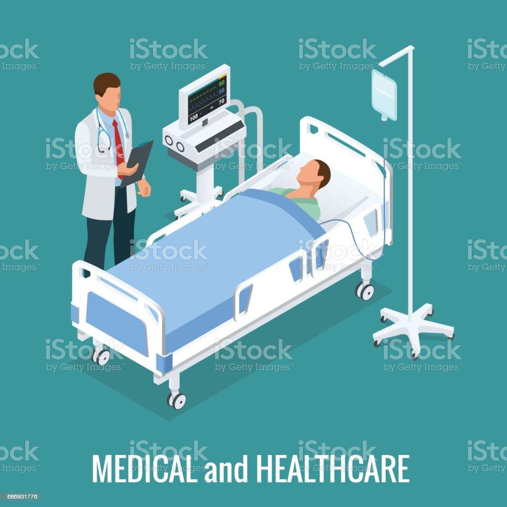 Flache 3D-Illustration isometrische innere Krankenzimmer. Ärzte, die Behandlung der Patienten. Krankenhaus Klinik innen Betrieb Ward Zellen flach 3d Isometrie isometrische Konzept Web-Vektor-Illustration. – Vektorgrafik