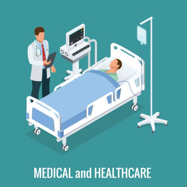 Flat 3D illustration Isometric interior of hospital room. Doctors treating the patient. Hospital clinic interior operation ward cells flat 3d isometry isometric concept web vector illustration. Flat 3D illustration Isometric interior of hospital room. Doctors treating the patient. Hospital clinic interior operation ward cells flat 3d isometry isometric concept web vector illustration hospital bed stock illustrations