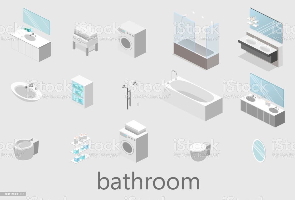 Flat 3D Isolated Vector Cutaway Interior Of Bathroom Royalty Free Flat 3d  Isolated Vector Cutaway