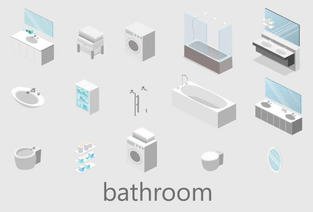 flache 3d-vektor isoliert cutaway interieur des badezimmers - spiegelfliesen stock-grafiken, -clipart, -cartoons und -symbole