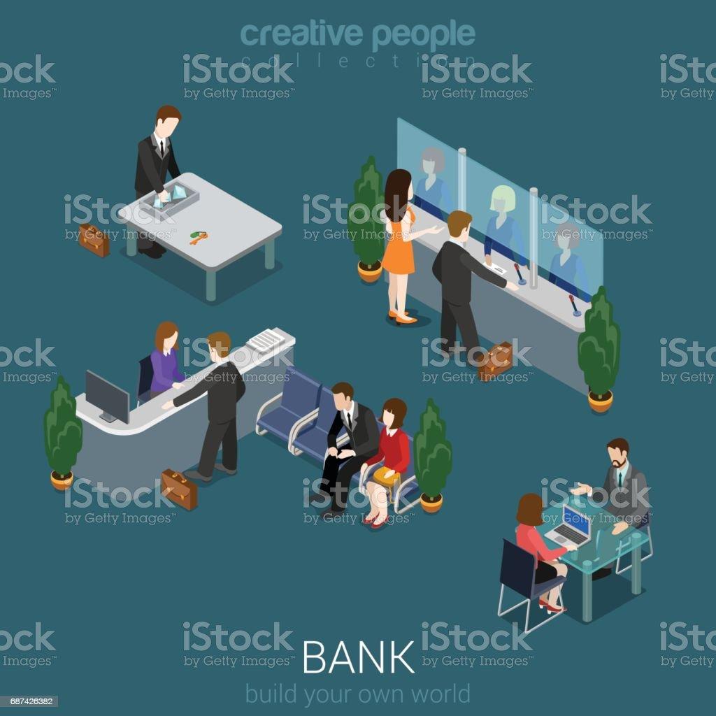 3d izometrik banka Ofis Binası Kat iç detay elemanları kavramı vektör düz. Sayaç Resepsiyon, kasiyer, kasa, Yöneticisi, cashdesk, Döviz Alım Satım. Yaratıcı insanlar koleksiyonu. vektör sanat illüstrasyonu