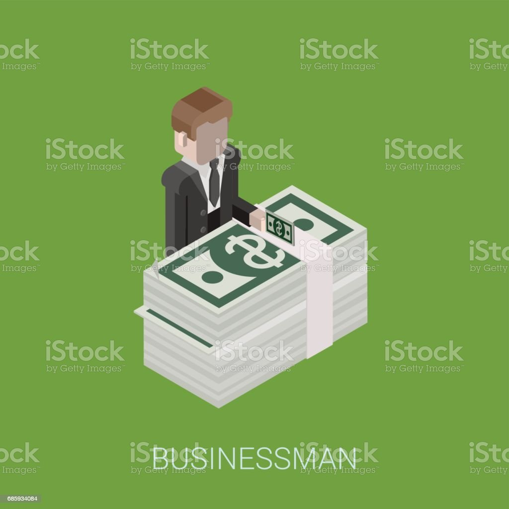 Flat 3d isometric abstract billionaire, investor, rich man, millionaire, capitalist web concept vector icon. Businessman giving money standing at big stack of dollar banknotes. vector art illustration