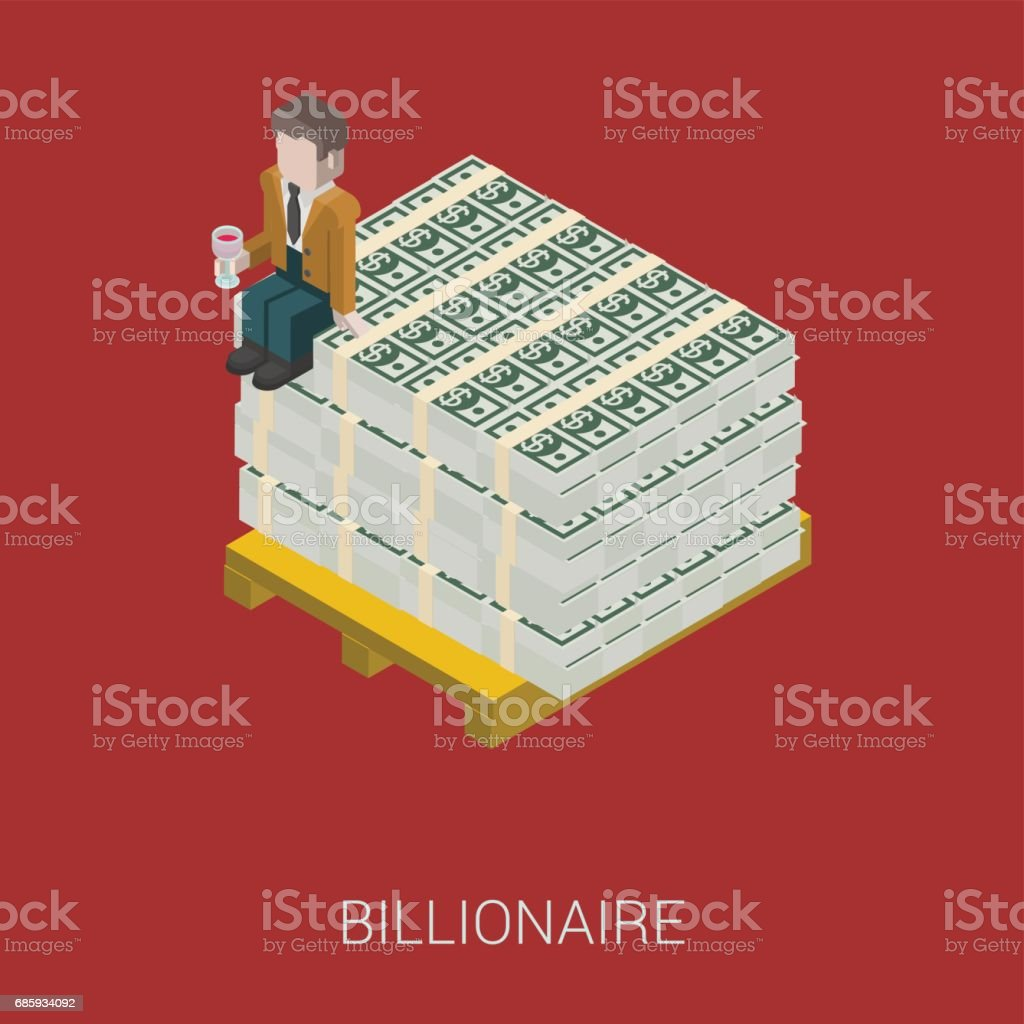 Flat 3d isometric abstract billionaire, oligarch, rich man, millionaire, capitalist web concept vector icon. Businessman with glass of wine sitting on pallet of dollar banknotes. vector art illustration