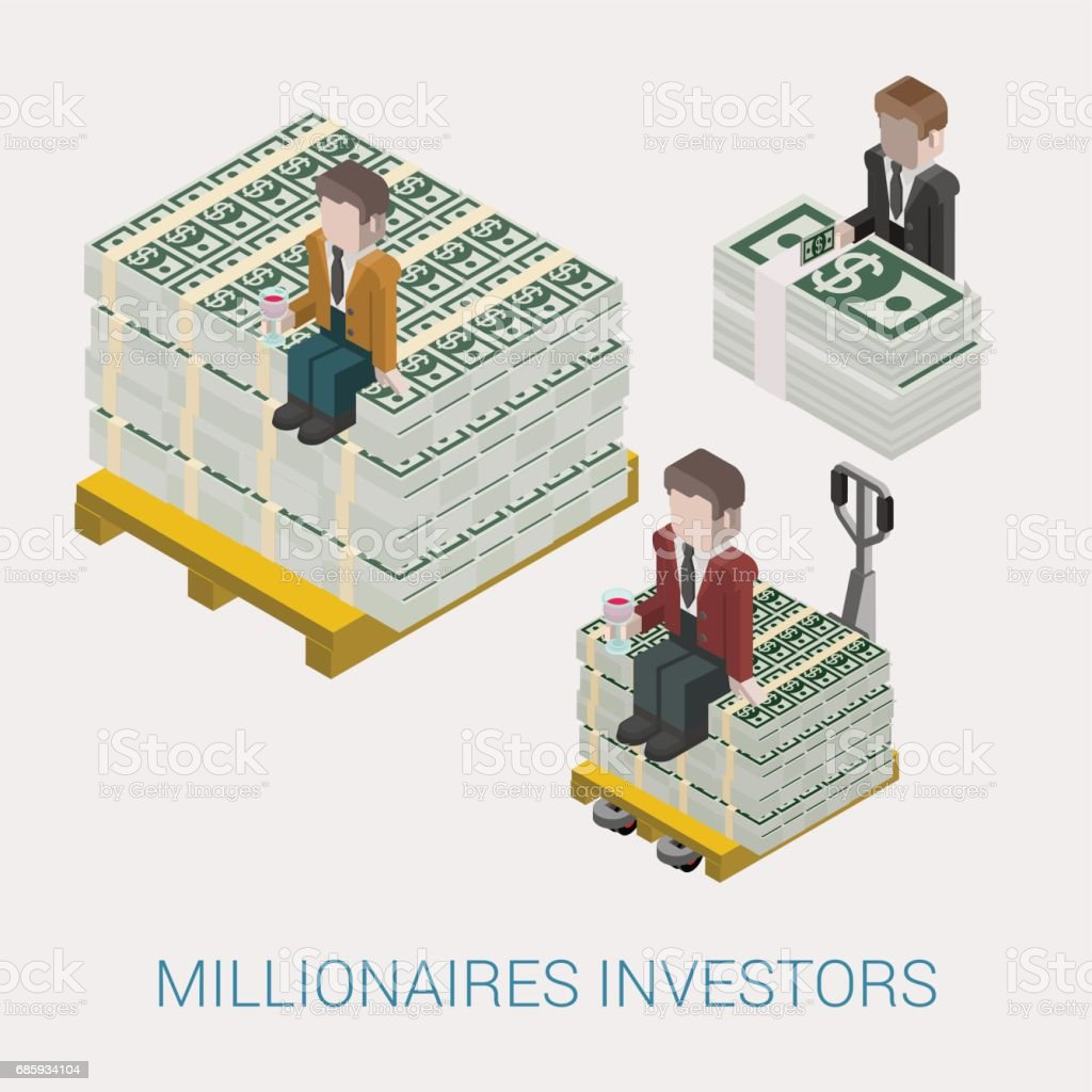 Flat 3d isometric abstract billionaire, oligarch, rich man, millionaire, capitalist web concept vector icon. Businessman with glass of wine sitting on pallet of dollar banknotes. Big money. vector art illustration
