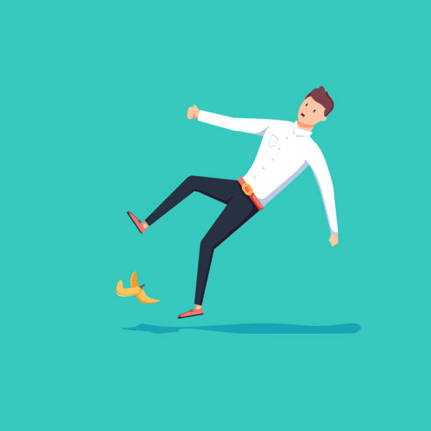 Flat 3d isometric businessman slipped on a banana peel. Business accident concept. Flat style businessman slipped on a banana peel. Business accident concept. Fall hazard vector illustration isolated on background. Falling man in modern flat style. careless stock illustrations
