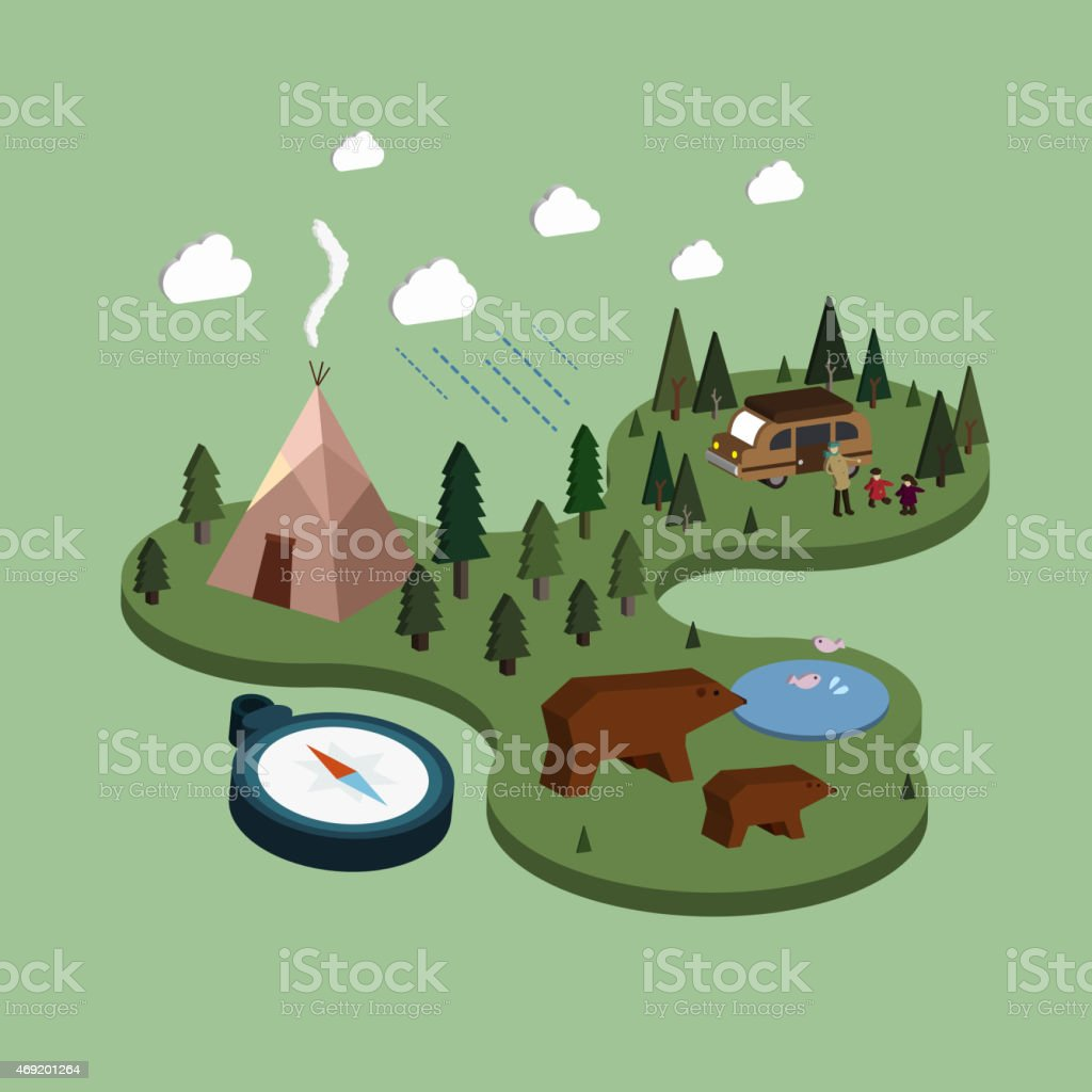 flat 3d isometric camping life illustration vector art illustration