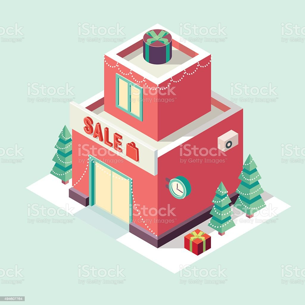 Flat 3d Isometric Christmas Store New Year Sale Royalty Free