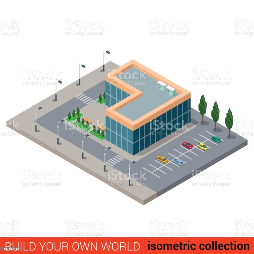 Flat 3d Isometric City Office Parking Glass Building Block