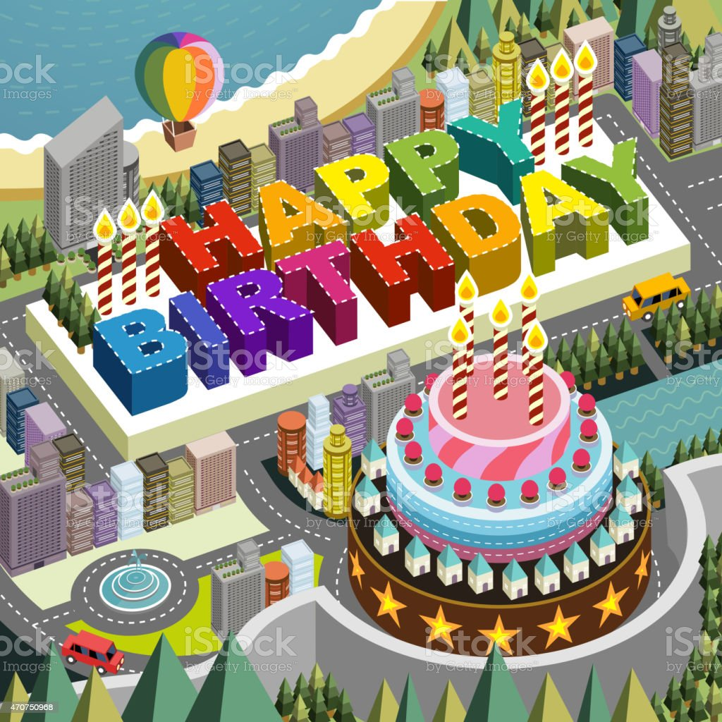 Surprising Flat 3D Isometric City Scenery With Big Birthday Cake Stock Funny Birthday Cards Online Drosicarndamsfinfo