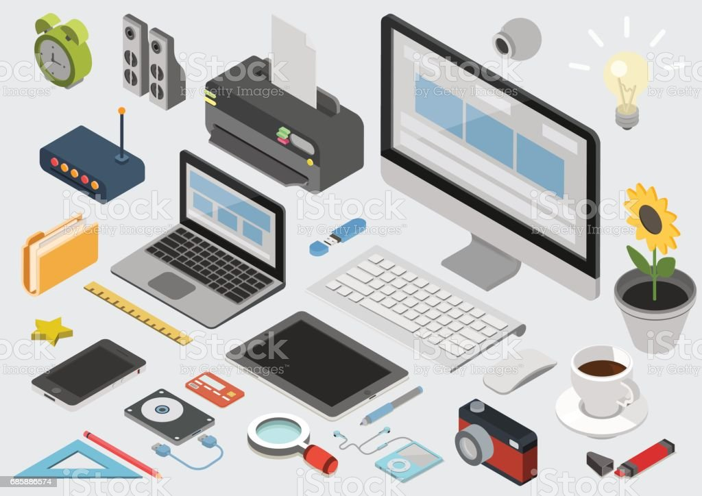 Flat 3d isometric computerized technology designer workspace...