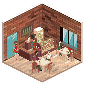 Isometric interior of coffee shop. flat 3D isometric design interior cafe or restaurant. People sit at tables and eat. Concept illustration of the room.Isometric interior of coffee shop. flat 3D isometric design interior cafe or restaurant. People sit at tables and eat. Concept illustration of the room.
